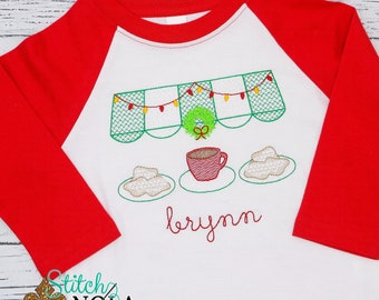 Christmas Coffee and Beignets Sketch Embroidery, New Orleans Christmas Embroidery, Christmas Embroidery, Personalized Christmas Shirt