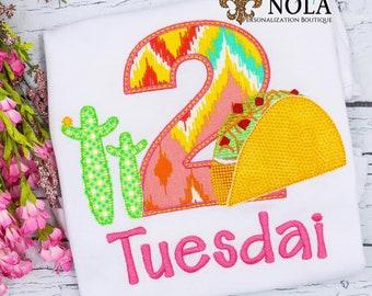 Taco Twos Day Birthday, Taco Tuesday Birthday, Taco Number Applique Birthday, Fiesta Birthday