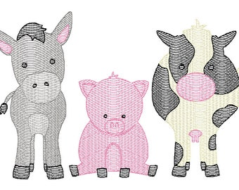 Farm Animal Trio Sketch Embroidery, Farm Animals Embroidery