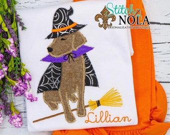 Halloween Dog Outfit, Halloween Shirt and Shorts, Applique Dog Witch, Halloween Embroidery, Halloween Set