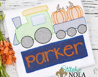 Vintage Pumpkin Train with Name Patch, Vintage Pumpkin Train Shirt, Train Pumpkin, Pumpkin Train Shirt, Pumpkin Shirt, Pumpkin Patch Outfit
