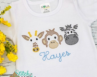 Zoo Sketch Embroidery, Zoo Trio Shirt, zoo Shirt