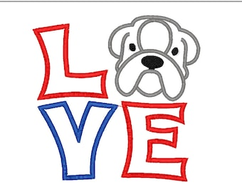 Bull Dog LOVE Applique