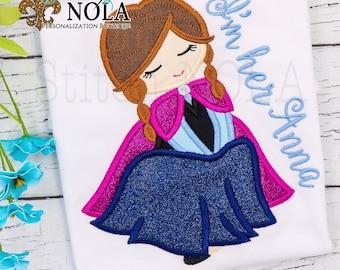 Anna Inspired Applique, Frozen Inspired Birthday applique, Princess Anna, Frozen Princess Applique