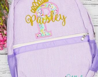 Girls Seersucker Backpack with Letter Applique, Seersucker Diaper Bag, Seersucker School Bag, Seersucker Bag, Diaper Bag, School Bag