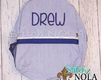 Seersucker Backpack with Monogram, Seersucker Diaper Bag, Seersucker School Bag, Seersucker Bag, Diaper Bag, School Bag, Book Bag, Backpack