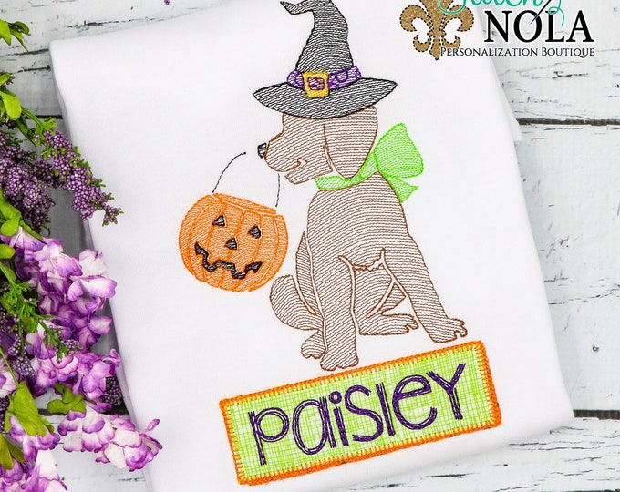 Featured listing image: Trick or Treat Witch Dog Sketch Embroidery with Name Patch, Witch Dog Sketch Embroidery, Halloween Shirt, Pumpkin Shirt, Witch Shirt