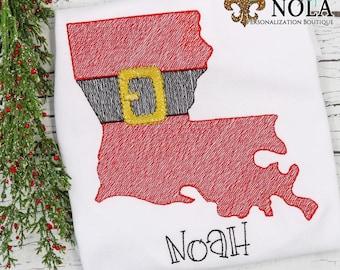 Louisiana Santa Belt, Louisiana Christmas Shirt, Santa Embroidery