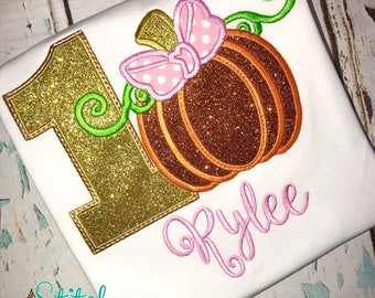 Pumpkin Birthday Shirt, Pumpkin Birthday Applique, Fall Birthday Shirt, Girl Pumpkin Birthday, Gold Glitter Pumpkin Shirt, Romper, Bodysuit