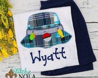 Fishing Hat Applique Shorts Set, Fishing Shirt and Shorts, Fishing Applique