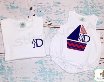Sailboat Shirt, Gown, Bodysuit, Romper or Bubble