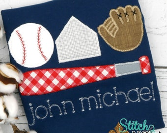Baseball Gear Applique, Baseball Bats Applique, Baseball Glove Applique,  Baseball Applique, Baseball Shirt, Bats Applique, Toddler Baseball