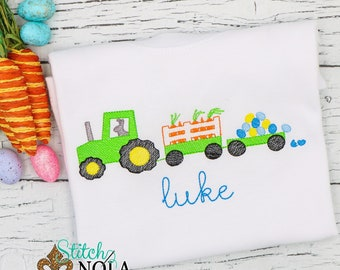 Easter Bunny Tractor Sketch Embroidery