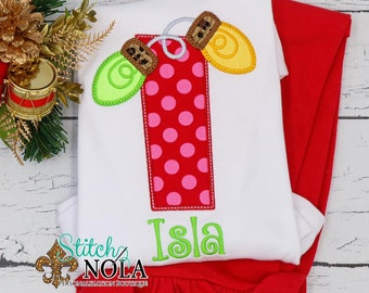 Christmas Alpha With Light Bulbs Top And Bottom Set, Christmas Alpha Letter Applique, Xmas Outfit, Christmas Shirt, Holiday Outfit