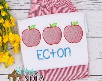 Apple Trio School Personalized Top and Shorts Set, Back to School Outfit,  Embroidery, Pre-School Outfit, Kindergarten Shirt