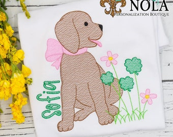 Puppy With Clover Patch Sketch, Dog and Shamrocks, St Patrick's Day Embroidery, St Patty's Day Shirt, St Patrick's Shirt