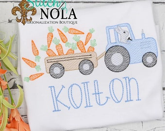 Easter Tractor With Carrot Wagon Sketch, Bunny Easter Sketch, Easter Embroidery, Boy Spring Embroidery, Boy Easter Shirt