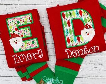 PRE-ORDER Santa Alpha Applique, Personalized Christmas Pajamas, Kids Christmas Pajamas, Polar Express Pajamas, XMAS Pajamas, Monogra