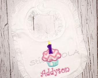 1st birthday cupcake bib
