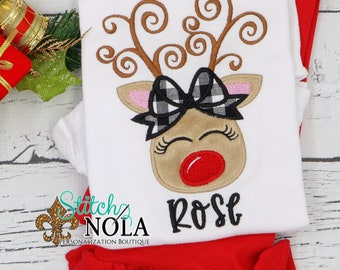Christmas Girl Reindeer Applique Top And Bottom Set, Reindeer With Plaid Bow, Christmas Appliqué, Xmas Outfit, Christmas Outfit