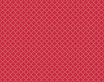 Red Mini Quatrefoil Fabric, Riley Blake, 100% Cotton, Red Quatrefoil