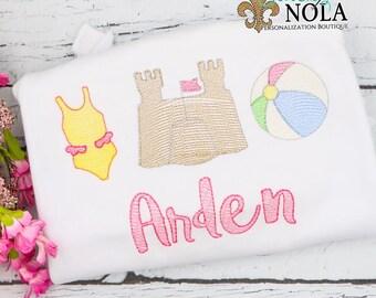 Beach Trio Sketch Embroidery, Beach Trio, Bathing Suit, Sand Castle, Beach Ball
