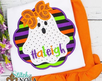 Girl Ghost Applique Shirt and Shorts Set, Girls Halloween Outfit, Ghost Shirt