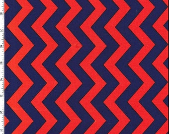 Shi-Shi Chevron Fabric Michael Miller CX6221 Clementine 100% Cotton, Red and Navy Chevron, Red and Blue Chevron
