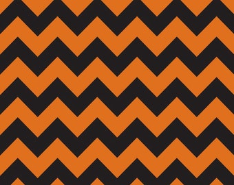 FLANNEL Medium CHEVRON  Black/Orange, Riley Blake, 100% Cotton Flannel