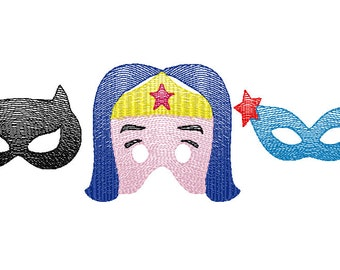 Girl Superhero Trio Sketch Embroidery, Vintage Girl Superhero Trio, Girl Superhero Trio Embroidery