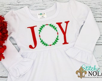 Joy Wreath Children's Outfit, Joy Holly Wreath, Mistletoe Wreath, Joy Christmas Dress, Joy Outfit, Joy Wreath Shirt, Joy Wreath Embroidery