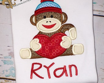 Valentine's Day Sock Monkey Shirt, Bodysuit, Romper or Gown