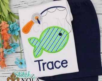 Fishing Pole Applique Shorts Set, Fishing Shirt and Shorts, Fishing Applique