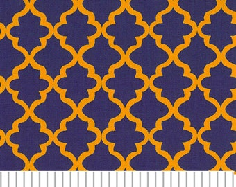 Purple and Gold Mini Quatrefoil Fabric, Fabric Finders, 100 percent cotton, Purple and Gold Quatrefoil