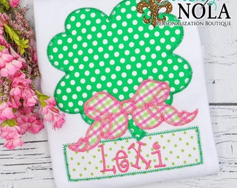 Shamrock With Bow Applique, Clove With Bow Applique, St Patrick's Day Applique, St Patty's Shirt, Girl St Patty's Shirt