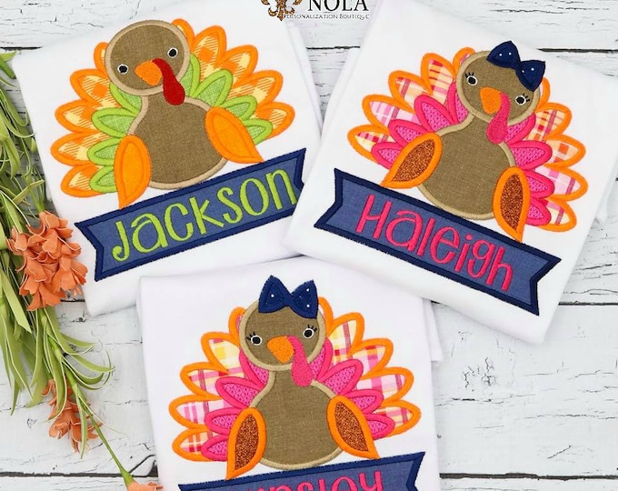 Featured listing image: Turkey Applique with Name Banner, Turkey Applique, Thanksgiving Applique, First Thanksgiving Outfit, Turkey Embroidery, Thanksgiving Shirt