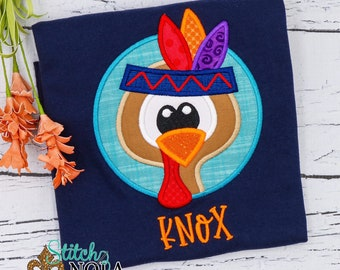 Turkey Applique, Personalized Turkey Shirt, Thanksgiving Applique, Indian Turkey Applique, Thanksgiving Shirt