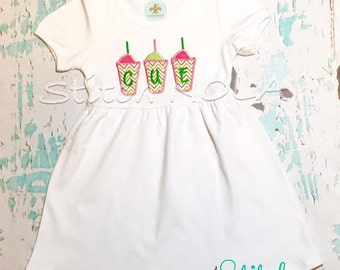 Monogrammed Snowball Trio Dress With Free Personalization, Snow Cone Applique Dress, Applique Summer Dress