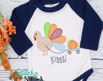 Turkey and Pumpkin Sketch Embroidery, Thanksgiving Embroidery, Thanksgiving Turkey Shirt, Turkey Embroidery