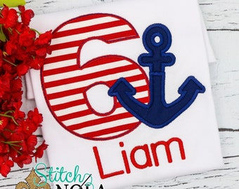 Anchor Birthday Applique, Anchor Applique, Nautical Birthday Applique