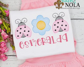 Ladybug Flower Trio Sketch Top And Bottom Set, Spring Sketch Embroidery, Spring Embroidery, Spring Outfit, Girl Summer Outfit