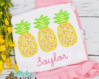 Pineapple Trio Applique Top and Shorts Set, Pineapple Trio Applique, Pineapple Applique, Summer Applique