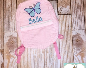 Seersucker Backpack with Butterfly, Seersucker Diaper Bag, Seersucker School Bag, Seersucker Bag, Diaper Bag, School Bag, Book Bag, Backpack