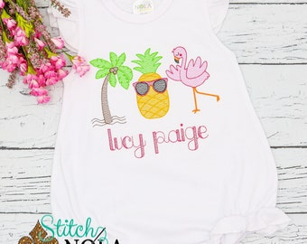 Flamingo, Pineapple, Palm Tree Sketch Trio Sketch Embroidery, Beach Monogrammed Shirt