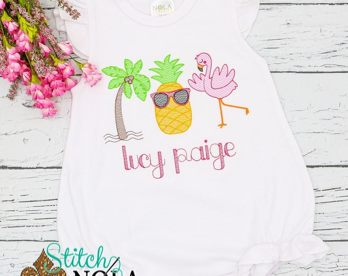 Featured listing image: Flamingo, Pineapple, Palm Tree Sketch Trio Sketch Embroidery, Beach Monogrammed Shirt