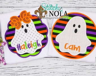 Ghost Applique Shirt, Personalized Ghost Tee Shirt, Halloween Top, Girl Ghost, Boy Ghost