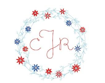 Patriotic Floral Wreath Monogram, Patriotic Wreath, Fourth of July, Memorial Day