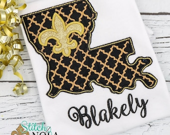 Louisiana Applique, Fleur de lis Applique, Black and Gold