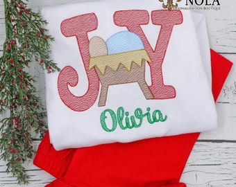JOY Sketch Embroidery Shirt and Shorts,  Vintage JOY Christmas Shirt, Baby Jesus Embroidery, Christmas Outfit, Xmas Shirt