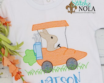 Bunny in Carrot Golf Cart Sketch, Easter Sketch Embroidery, Boy Golf Shirt, Spring Embroidery, Easter Shirt, Boy Easter Shirt